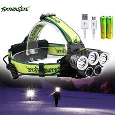 40000lm 5x Xm-l T6 LED Rechargeable USB Headlamp 18650 Battery Cycling Torch FT