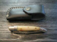 Couteau laguiole damas manche chameau avec étui cuir