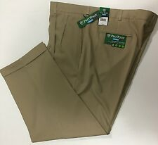 Pro Tour Cool Play Golf Comfort Waist Pleated Tech Pant Cuffed Leg 42 x 30 Khaki
