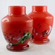 Vintage VASES(x2) Verre Design Rouge Verrerie/glass/biot/murano/mdina...70/80/90
