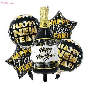 2021 Happy New Year Star Round Foil Balloons Christmas Event Party Decoration