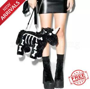 Dark Punk unicorn backpack Gothic Rock pink Plush flying horse Skeleton stuffed