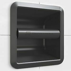 SmartRoll BLACK Low Profile Magnetic Modern Stylish Recessed Toilet Roll Holder