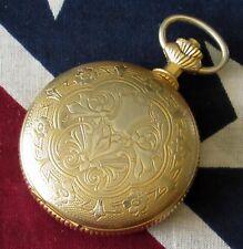 Vintage Caravelle Skeleton Pocket Watch 17 jewels RUNS
