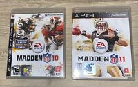PS3 Sports Lot of 2 Football Games MADDEN NFL 10 & 11 With Orig. Booklets Cases