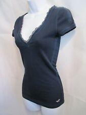 Vintage Hollister Lace V Neck Dark Navy Blue Knit Top Size Juniors M