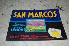 1940s-50s Un-Used Fruit Crate Label San Marcos Santa Barbara Lemons