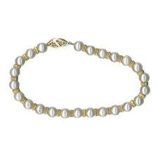 Gefädelte Armbänder aus Gelbgold mit Perlen