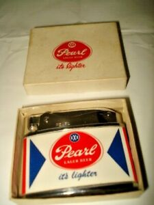 "Vintage Pearl Lager Beer ""it's lighter"" flat advertising lighter NEW IN BOX RARE"
