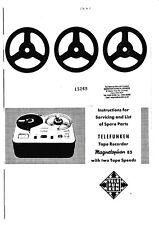 Service Manual-Anleitung für Telefunken Magnetophon 85