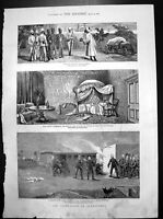 Old War Egypt Occupation Alexandria Egyptian Prisoners Skirmish 1882 Victorian