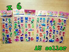 6 x PJ MASKS stickers 3D party stickers treat box sticker party favour