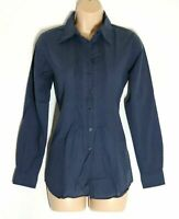 Women's Vintage ROSSANA DIVA Long Sleeve Navy Cotton Shirt Blouse Size UK8 Italy