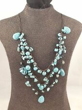 Strand Drape Necklace Tiered 20 ½� Beautiful Brown Leather & Turquoise Multi