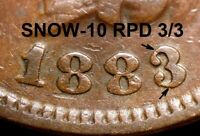 1883 Indian Head Cent - HIGH GRADE SNOW-10, REPUNCHED DATE (K764)