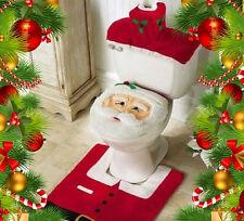 3Pcs De Baño Decoración De Navidad Papá Noel Toilets Funda Asiento