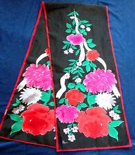 Vintage Vera Ladies Silk Scarf Black & Red Floral