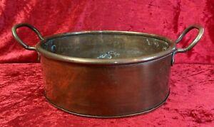 Rustic Antique / Vintage Copper Cooking Pot / Jam Pan Planter Brass Handles