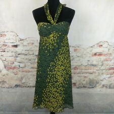 Max And Cleo Wms Sz c Black Green Mustard Print 100% Silk Chiffon Halter Dress