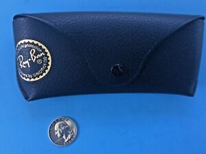 VTG Ray Ban Black FAUX PEBBLED Leather Glasses Soft Case with Gold Logo LUXOTTIC