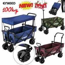 Heavy Duty Folding Garden Beach Shopping Trolley Cart Wagon Utility with Canopy