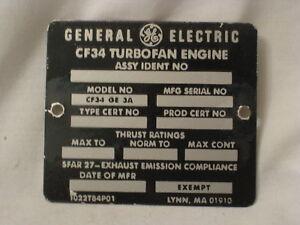 vintage GE General Electric CF34 Turbofan Aircraft Engine metal tag emblem ID