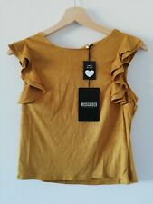 missguided suede ruffle shoulder top mustard XS UK 4 #114A