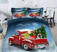 3D Red Truck Gift O012 Christmas Quilt Duvet Cover Xmas Bed Pillowcases Fay