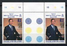 Falkland 1999 Prinz Charles Besuch Visit Stegpaar 746 Gutter Pair MNH