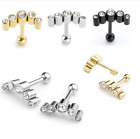 "Pair 16G 1/4"" CZ Gem Steel Barbell Tragus Cartilage Helix Stud Earring Piercing"