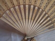 Antique Gorgeous Hand Fan Wooden Engraving Tulle Ornate Tassel