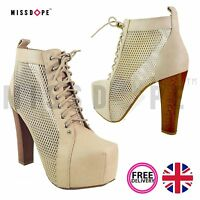 NEW BEIGE MESH BOOTS HIGH HEEL ANKLE WOOD WOMENS PLATFORM BLOCK FAUX LEATHER UK