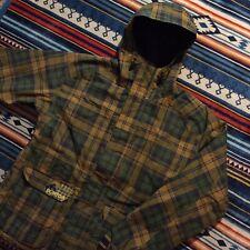 Burton Mens Snowboard Jacket Size Large Green Brown Plaid Hooded