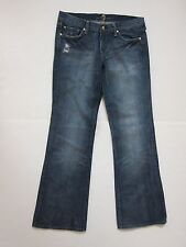 7 for All Mankind Blue Distressed Boot Cut Denim Jeans Women's Sz 32 100% Cotton