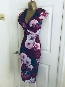 Quiz Red Wine V Neck Floral Evening Party Midi Wiggle Occasion Pencil Dress £35