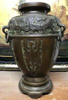 Grand Vase Chinois Chine China Ancien XIXeme Bronze Brûle Parfum