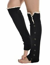 Kathlena Knee High Knit Button Crochet Lace Trim Leg Warmer - Black