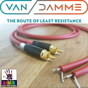 Van Damme - Silver Plated OFC Rean RCA to bare wires for turntables - Red 1m