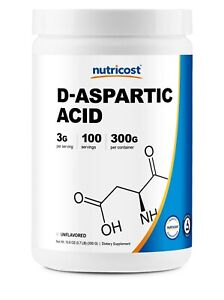 D-Aspartic Acid (DAA) by Nutricost 300G (Unflavored) - 100 Servings