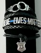 BLUE LIVES MATTER LEATHER BRACELET - LAW ENFORCEMENT-POLICE-BLUE & BLACK  - #4