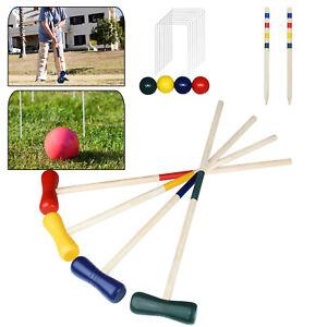 Kinder Croquet Krocket Set Holz Spiel Crocket Krokett Kroket Kroquet 4 Spieler