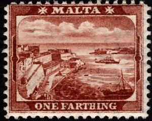 Malta - 1905 - 1 Farthing Red Brown Valletta Harbor Issue # 28 Mint Fine w/ Gum