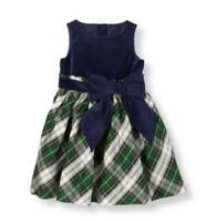 "NWT Janie & Jack ORNATE OPERA 4 ""Tartan Plaid Silk Dress"" Holiday Green Blue"