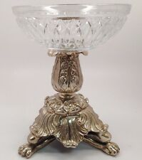 Maitland Smith Cut Crystal Bowl on a Silver Stand Pedestal