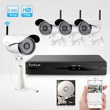 Funlux 4 720P HD Wifi IP wlan Überwachungskamera SET Überwachungssystem funk 1TB