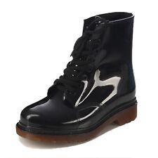 Transparent Rain Wellies Fashion BOOTIES Combat BOOTS UK Sz 2 3 4 5 6 Black UK 6 ( Size Tag CN 40)