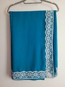 Blue Chiffon Sari Saree Indian With Lace Border