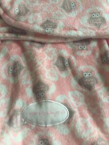 Blankets And Beyond Baby Swaddle Blanket Velcro Pink Owls Plush Sleep Sack