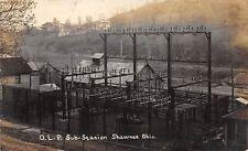 D16/ Shawnee Ohio Postcard RPPC Perry County c1910 O.L.P. Sub Station Electric
