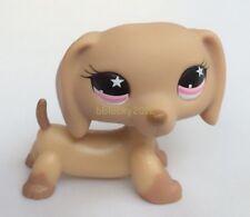 Littlest Pet Shop LPS Toys #932 Brown Tan Dachshund Hot Dog Pink Star Eyes RARE